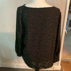 Ann Taylor Long Sleeve Semi-Sheer Polka Dot Blouse